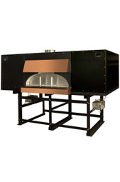 "Earthstone 130-Due-PAGW Pre-Assembled Gas / Wood Fired Commercial Pizza Ovens with Pierre de Boulanger | Oven with Bakers Tiles, 15 (12"") Pizza Capacity,  Oval Interior and 48""W x 12.5""H Single Oven Entrance 250000 BTU"