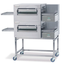 "Lincoln 1180-2G Impinger II Express Double-Stacked Natural Gas Conveyorized Ovens with 28"" Baking Chamber, 56"" Long Conveyor Belt and Glass Access Window 