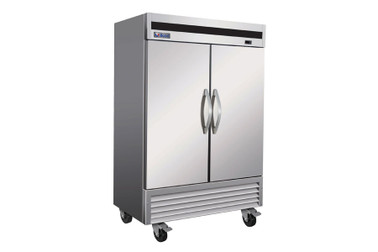 "Ikon IB54F Two Section Double Solid Door Stainless Steel 54""W Upright Bottom Mount Reach-In Freezer"