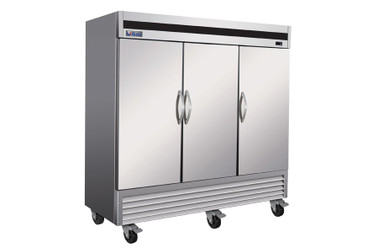 "Ikon IB81F Three Section Triple Solid Door Stainless Steel 81""W Upright Bottom Mount Reach-In Freezer"