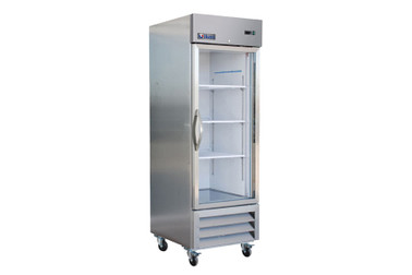"Ikon IB27FG One Section Single Glass Door Stainless Steel 27""W Upright Bottom Mount Reach-In Freezer"