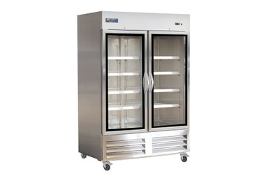 Ikon IB54FG Two Section Double Glass Door Stainless Steel 49 cu.ft. Upright Bottom Mount Reach-In Freezer