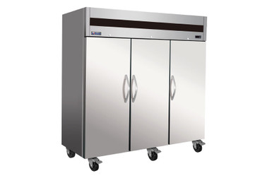 Ikon IT82R Three Section Triple Solid Door Stainless Steel 72 cu ft Upright Top Mount Reach-In Refrigerator