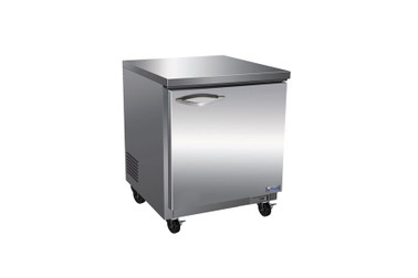 """Ikon IUC28R One Section Solid Hinged Door 1 Shelf 6.5 cu ft 27.8""""W Stainless Steel Rear Mounted Undercounter Reach-In Refrigerators by MVP Group Corp 