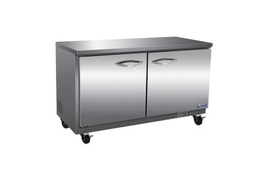 "Ikon IUC61F Two Section Solid Hinged Door 2 Shelf 15.5 cu ft 61.2""W Stainless Steel Rear Mounted Under-Counter Reach-In Freezers by MVP Group Corp 