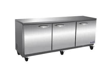 "Ikon IUC72F Three Section Solid Hinged Door 3 Shelf 18 cu ft 71.7""W Stainless Steel Rear Mounted Under-Counter Reach-In Freezers by MVP Group Corp 