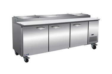 "Ikon IPP94 Three Section Solid Door 32 cu ft 94""W Refrigerated Counter Side Mount Pizza Prep Table"