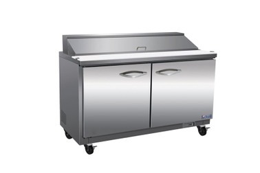 """Ikon ISP48 Two Section Solid Hinged Door 2 Shelf 12 cu ft 48.2""""W Stainless Steel Rear Mounted Refrigerated Standard Top Sandwich / Salad Prep Tables by MVP Group Corp   12 cubic feet 48.2 inch wide Counter Food Prep Units with Double Swing Doors, 2 Shelves and R290 Refrigerant"""
