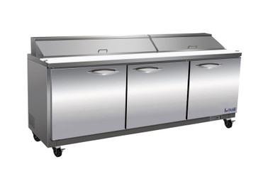 """Ikon ISP72 Three Section Solid Hinged Door 3 Shelf 18 cu ft 71.7""""W Rear Mounted Refrigerated Standard Top Sandwich / Salad Prep Tables by MVP Group Corp 