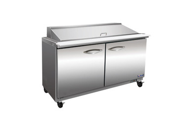 """Ikon ISP48M Two Section Solid Hinged Door 2 Shelf 12 cu ft 48.2""""W Stainless Steel Rear Mounted Refrigerated Counter Mega Top Sandwich / Salad Prep Tables by MVP Group Corp 
