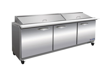 """Ikon ISP72M Three Section Solid Hinged Door 3 Shelf 18 cu ft 71.7""""W Stainless Steel Rear Mounted Refrigerated Counter Mega Top Sandwich / Salad Prep Tables by MVP Group Corp 