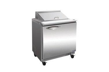 "Ikon ISP29M-2D One Section Two Drawer 7 cu ft 28.9""W Stainless Steel Rear Mounted Refrigerated Counter Mega Top Sandwich / Salad Prep Tables by MVP Group Corp 