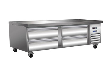 "Ikon ICBR74 Four Drawer 10.8 cu ft 74""W Stainless Steel Side Mounted Refrigerated Chef Bases by MVP Group Corp 