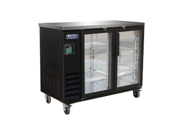 "Ikon IBB49-2G-24 Two Section Hinged Glass Door Four Shelf Side Mounted 10.45 cu ft 49.1""W Black Steel Refrigerated Back Bar Storage Cabinets by MVP Group Corp 