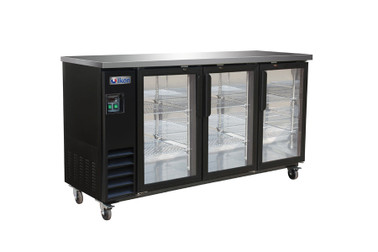 "Ikon IBB73-3G-24 Three Section Hinged Glass Door Six Shelf Side Mounted 17.26 cu ft 73.1""W Black Steel Refrigerated Back Bar Storage Cabinets by MVP Group Corp 