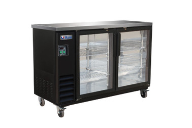 "Ikon IBB61-2G-24SD Two Section Sliding Door Four Shelf Side Mounted 14.16 cu ft 61.01""W Black Steel Refrigerated Back Bar Storage Cabinets by MVP Group Corp 