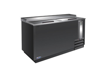"""Ikon IBC-49 Two Slide Lid Side Mounted 13.5 cu ft 49.4""""W Black Steel Flat Top Deep Well Bottle Coolers 