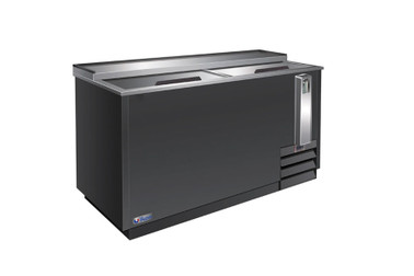 "Ikon IBC64 Two Slide Lid Side Mounted 18.5 cu ft 64.3""W Black Steel Flat Top Deep Well Bottle Coolers 
