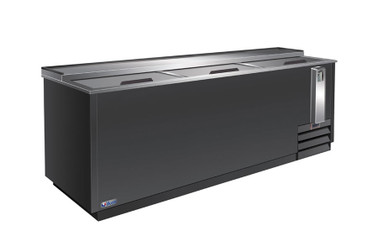 """Ikon IBC95 Three Slide Lid Side Mounted 30.3 cu ft 95.3""""W Black Steel Flat Top Deep Well Bottle Coolers 