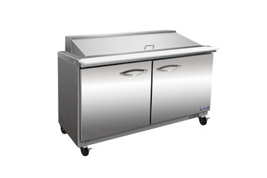 "Ikon ISP61M Two Section Solid Hinged Door 2 Shelf 15.5 cu ft 61.2""W Stainless Steel Rear Mounted Refrigerated Counter Mega Top Sandwich / Salad Prep Tables by MVP Group Corp 