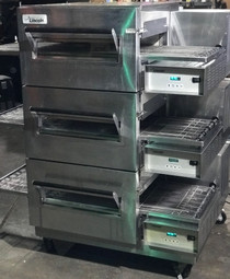 "Example of Lincoln 1100_PO Single, Double or Triple Deck 1100 Series Remanufactured Impinger II Express Gas/Electric Conveyorized Ovens with 28"" Long Baking Chamber and 18 inch Wide Conveyor Belt Per Oven 