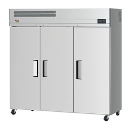 """Turbo Air EF72-3-N - Three Section Solid Door 66 cu ft 78""""W Stainless Steel E-Line Series Top Mounted Reach-In Freezers   66 cubic feet 78 inch wide Reach In Freezer with 3 Doors, 9 Shelves and R290 Refrigerant"""