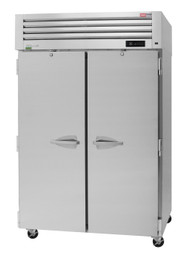"""Turbo Air PRO-50R-N Two Section Solid Door 48 cu ft 52""""W Stainless Steel PRO Series Top Mounted Reach-In Refrigerators - 48 cubic feet 52 inch wide Reach In Refrigerator with 2 Doors, 6 Shelves, Self-Cleaning Condenser and R290 Refrigerant"""