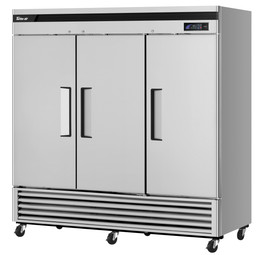 """Turbo Air TSR-72SD-N - Three Section Solid Door Bottom Mounted 64.1 cu ft 82""""W Super Deluxe Reach-In Refrigerators 