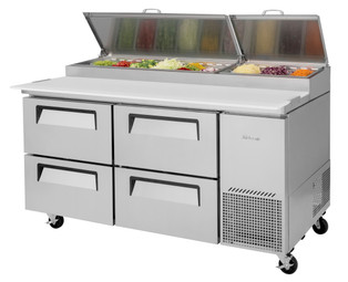 "Turbo Air TPR-67SD-D4-N - Two Section Four Drawer Side Mounted 20 cu ft 67""W Stainless Steel Super Deluxe Pizza Prep Tables 