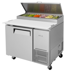 "Turbo Air TPR-44SD-N - One Section Side Mounted 14 cu ft 44""W Stainless Steel Super Deluxe Pizza Prep Tables 