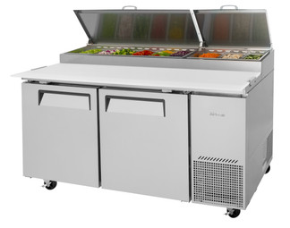 "Turbo Air TPR-67SD-N - Two Section Side Mounted 20 cu ft 67"" W Stainless Steel Super Deluxe Pizza Prep Tables 