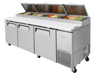 "Turbo Air TPR-93SD-N 93""W 31 cu ft Three Section Side Mount Stainless Steel Super Deluxe Refrigerated Pizza Prep Tables 