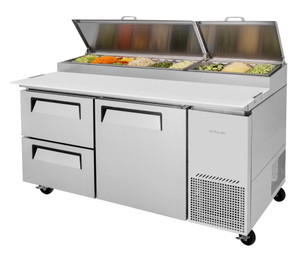 "Turbo Air TPR-67SD-D2-N - Two Section One Door Side Mounted 20 cu ft 67""W Super Deluxe Pizza Prep Tables 