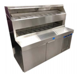 "Randell 8272D-290 Two Section 72"" W 14.4 cu ft Refrigerated Raised Condiment Double Rail Prep Table"
