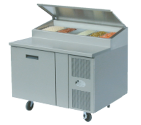 "Randell 8148N-290-PCB One Section Solid Hinged Door 9 cu ft 48""W Stainless Steel Refrigerated Raised Condiment Narrow Rail Prep Tables 