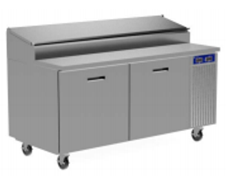 "Randell 8260N-290 Two Section Solid Hinged Door 4.67 cu ft 60""W Stainless Steel Refrigerated Raised Condiment Narrow Rail Prep Tables 