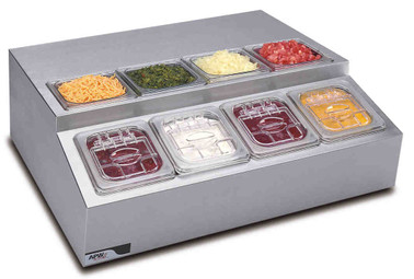 APW Wyott RTR-8 Eight Pan Refrigerated Topping Rail / Countertop Condiment Prep Rail