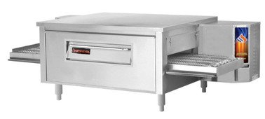 "Sierra Range C1840G Single Stack Stainless Steel Gas Countertop Conveyor Pizza Ovens by MVP Group Corp | One (1) Deck Stackable Oven with 40 inch Wide Belt, Reversible Conveyor and 40"" Long x 18"" Deep Cooking Chamber 60000 BTU"