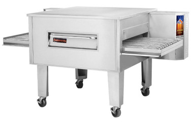 "Sierra Range C3248G Single Stack Stainless Steel Gas Conveyor Pizza Ovens by MVP Group Corp | One (1) Deck Stackable Oven with 48 inch Wide Belt, Reversible Conveyor and 48"" Long x 32"" Deep Cooking Chamber 140000 BTU"