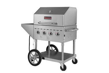 "Sierra Range SRBQ-30 Four Burner 49""W Full Stainless Steel Single Mobile Outdoor LP Gas Grills / Charbroilers by MVP Group Corp 