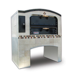 "Marsal MB-236 Stacked Two 24"" x 36"" Baking Chambers Brick-Lined Slice Series Commercial Double Deck Gas Pizza Ovens 