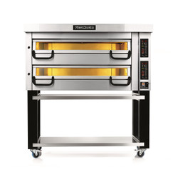 """PizzaMaster PM742ED 700 Series Two Deck Electric Modular Pizza Ovens with Four 14""""W Stone Hearth per Deck   Eight (8) 14 inch Wide Stones Double Deck Commercial Ovens with Electronic Control & Digital Display"""