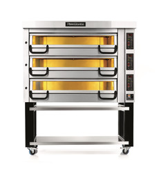 """PizzaMaster PM743ED 700 Series Three Deck Electric Modular Pizza Ovens with Four 14""""W Stone Hearth per Deck   Twelve (12) 14 inch Wide Stones Triple Deck Commercial Ovens with Electronic Control & Digital Display"""