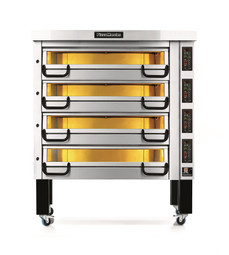 """PizzaMaster PM744ED 700 Series Four Deck Electric Modular Pizza Ovens with Four 14""""W Stone Hearth per Deck   Sixteen (16) 14 inch Wide Stones 4 Deck Commercial Ovens with Electronic Control & Digital Display"""