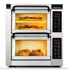 """PizzaMaster PM402ED-1 400 Series 16.1"""" Standard Width Two Chamber Three Stone Hearth Electric Countertop Pizza Ovens 