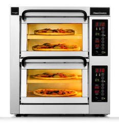 """PizzaMaster PM402ED-2 400 Series 16.1"""" Standard Width Two Chamber Four Stone Hearth Electric Countertop Pizza Ovens 