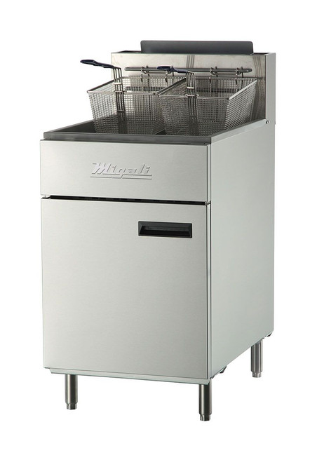 """Migali C-F75-NG Five Burner Natural Gas 21.1""""W Stainless Steel Competitor Series Floor Model Commercial Deep Fryers with 75 lb (pound) Oil Capacity and 5 Tube Burners, 170000 BTU"""
