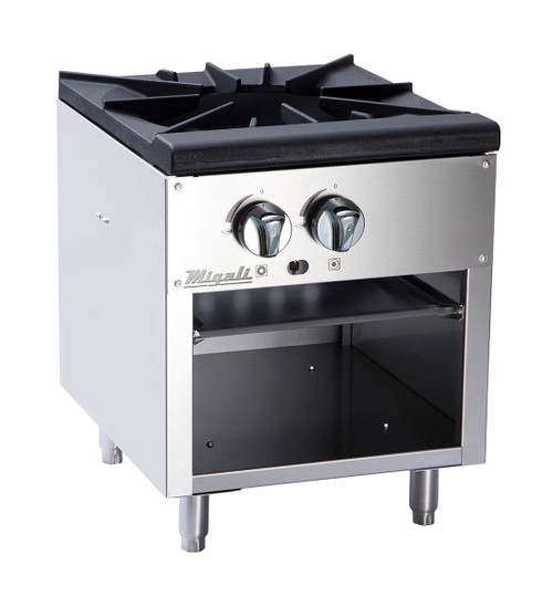 """Migali C-SPS-1-18 18""""W Two Burner Natural Gas Stainless Steel Competitor Series Countertop Stock Pot Ranges  18 inch wide with 2 Stove Burners, 80000 BTU"""