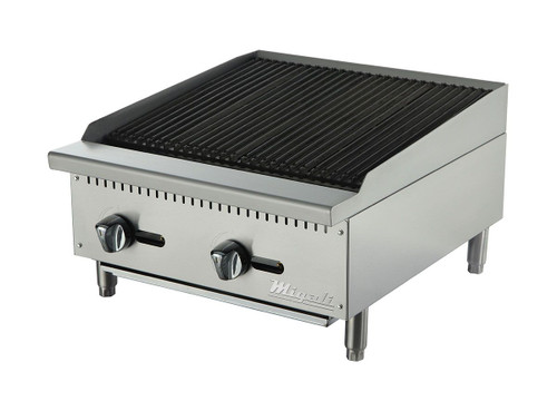 "Migali C-CR24 Two Burner Natural Gas 24 inch wide Stainless Steel Competitor Series Countertop Char-Rock Broilers | Charbroilers with Lava Rock Over Radiants, 24""W x 20""L Cooking Surface and 2 U shaped Burners 70,000 BTU"