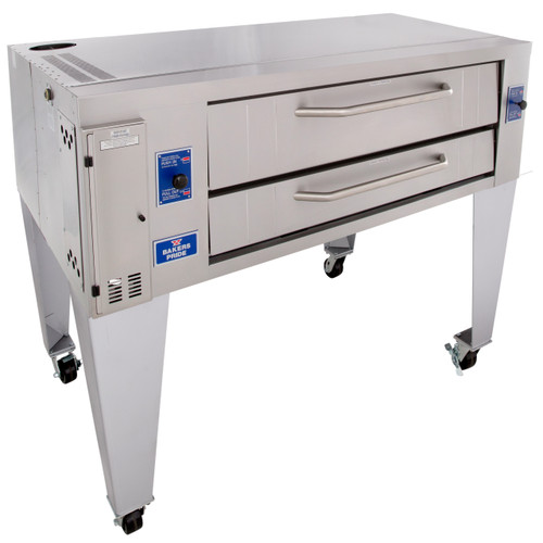 """Bakers Pride Y-600 One 8"""" Deck High Super Deck Series Stainless and Aluminized Steel Gas Pizza Bake Ovens   Single-Stacked Commercial Ovens with 60""""W x 36""""D FibraMent Hearth Deck, 8 inch Deck Height & 1 Baking Chamber 120000 BTU"""